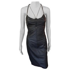 Gucci by Tom Ford S/S 2002 Leather Bustier Black Dress