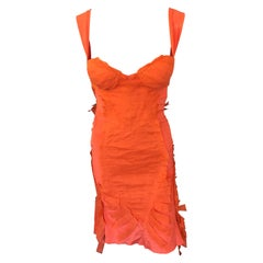 Gucci by Tom Ford S/S 2004 Runway Bustier Silk Open Back Tangerine Dress