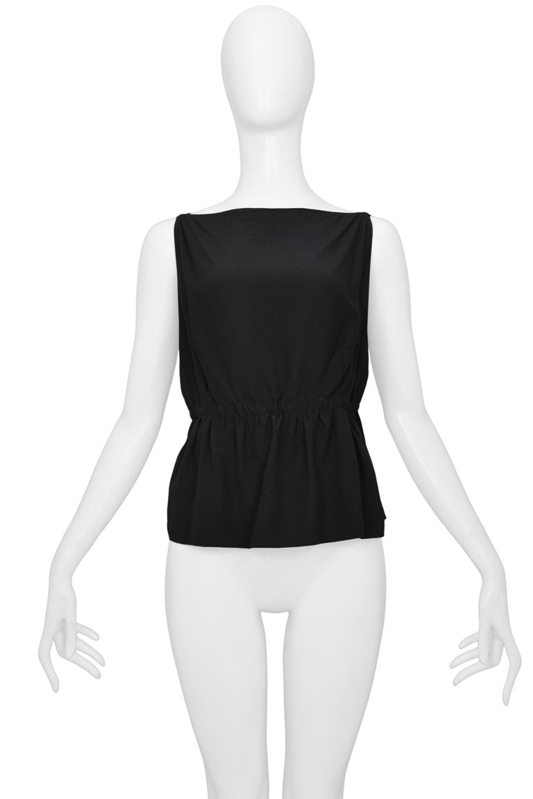 Gucci by Tom Ford Sexy Black Exposed Sides Top with Leather Bands 1999 In Excellent Condition For Sale In Los Angeles, CA