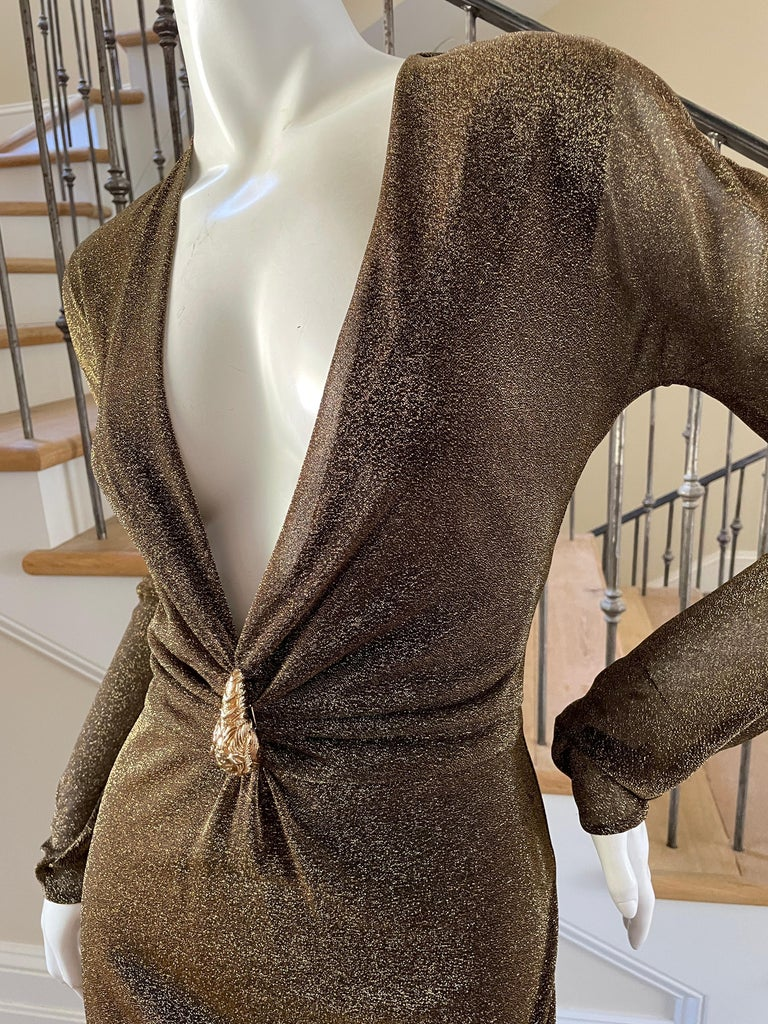 Gucci by Tom Ford Sheer Gold Dress with Dragon Ornament In Excellent Condition For Sale In Cloverdale, CA