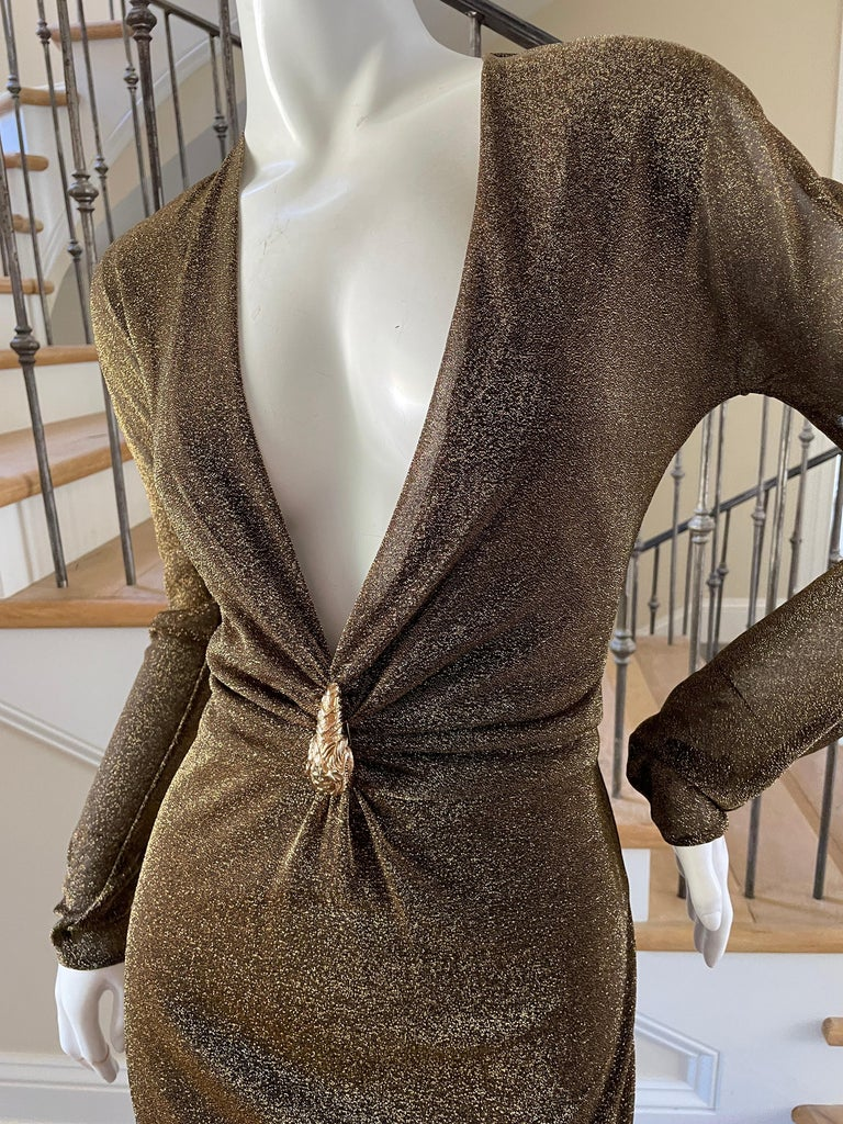 Women's Gucci by Tom Ford Sheer Gold Dress with Dragon Ornament For Sale