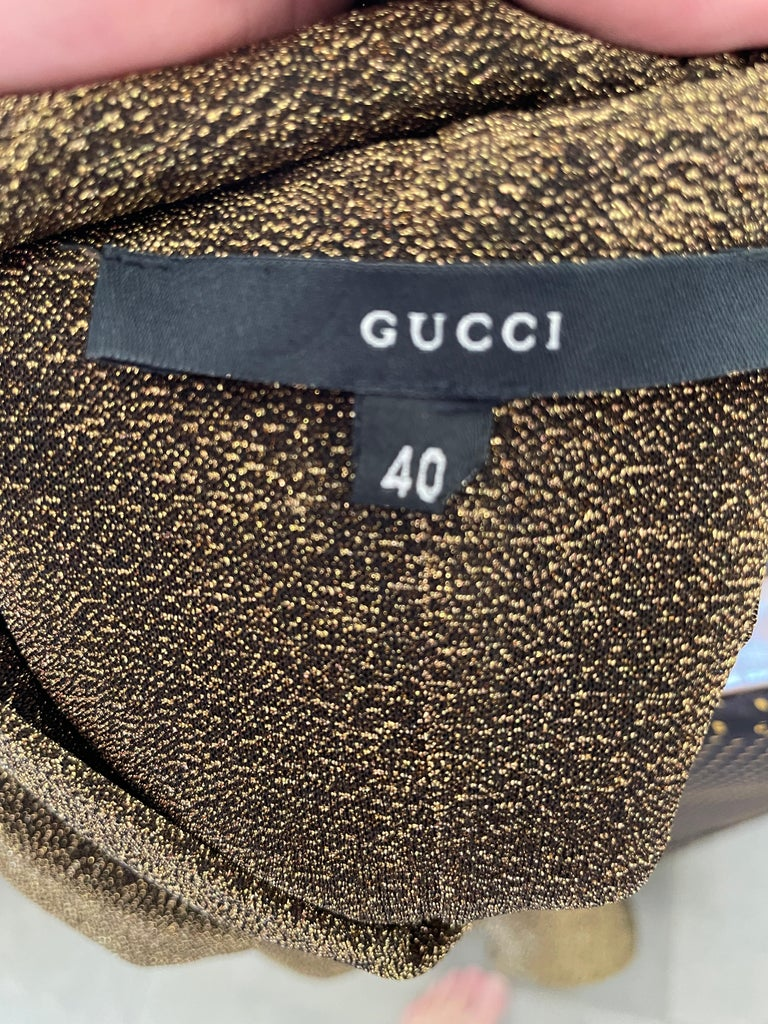 Gucci by Tom Ford Sheer Gold Dress with Dragon Ornament For Sale 4