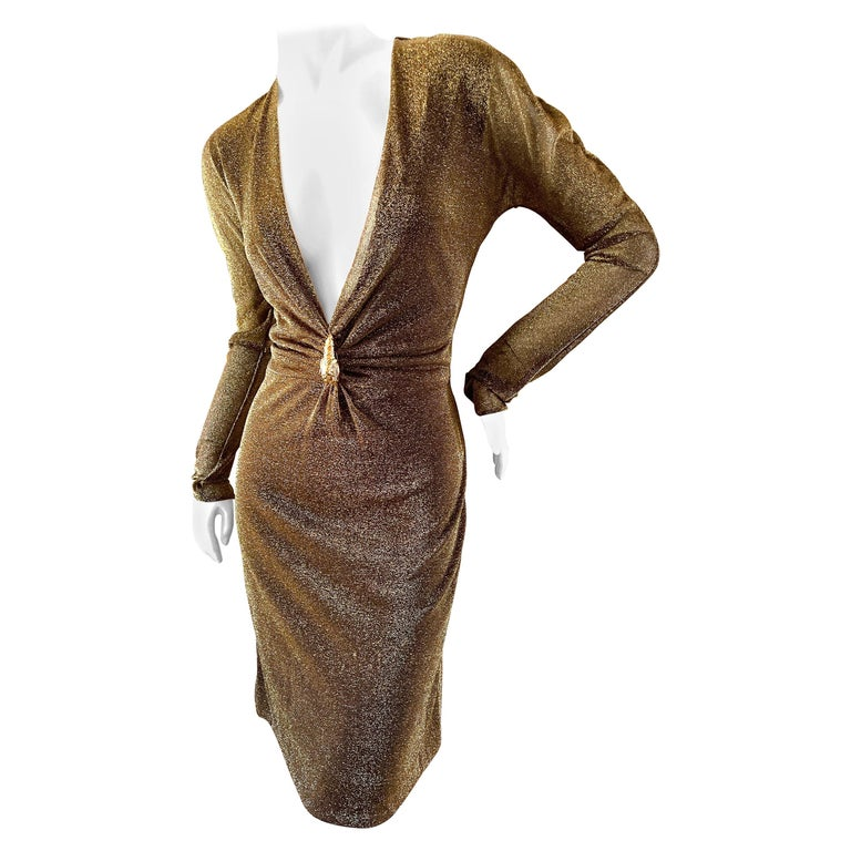 Gucci by Tom Ford Sheer Gold Dress with Dragon Ornament For Sale