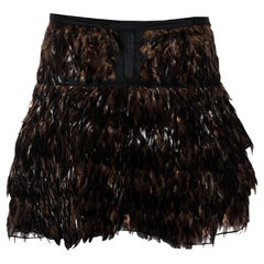 Gucci by Tom Ford silk organza mini skirt with brown feathers, ss 2003