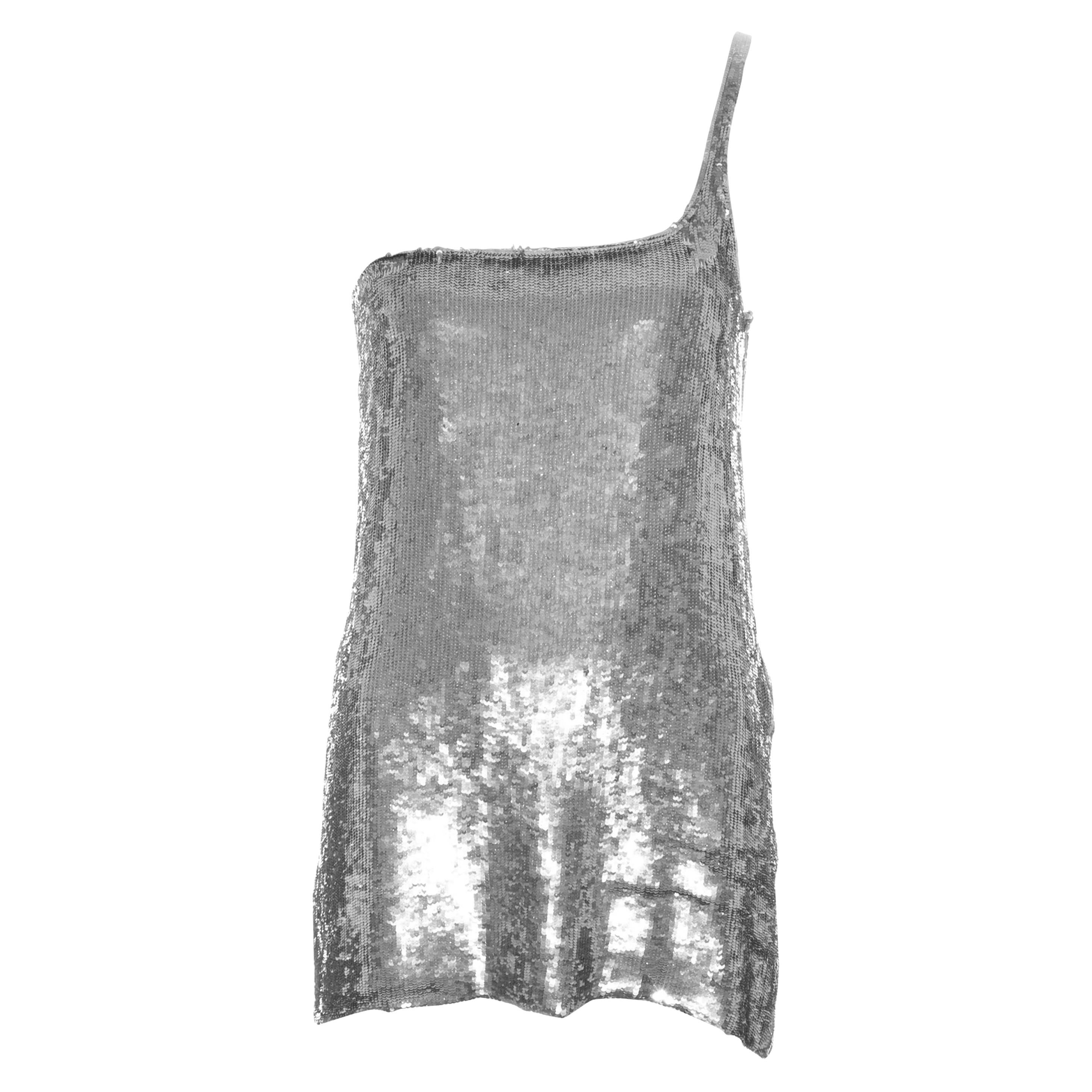 Gucci by Tom Ford silver sequin one shoulder micro mini dress, ss 1998