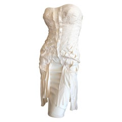 Gucci by Tom Ford Spring 2003 Sexy Strapless Ivory Ribbon Dress