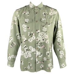 GUCCI by TOM FORD Spring 2003 Size M Olive Hand Painted Cotton Shirt