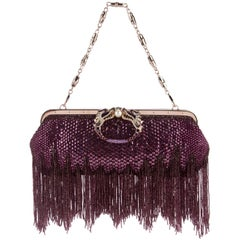 Gucci by Tom Ford Limited Edition Purple Sequin Fringe Dragon Clutch Bag SS 2004