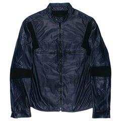 Gucci by Tom Ford SS1999 Blue Leather Moto Jacket
