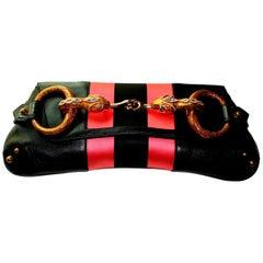 Gucci by Tom Ford Striped Black Lizard Skin Jeweled Snake Horsebit XXL Clutch