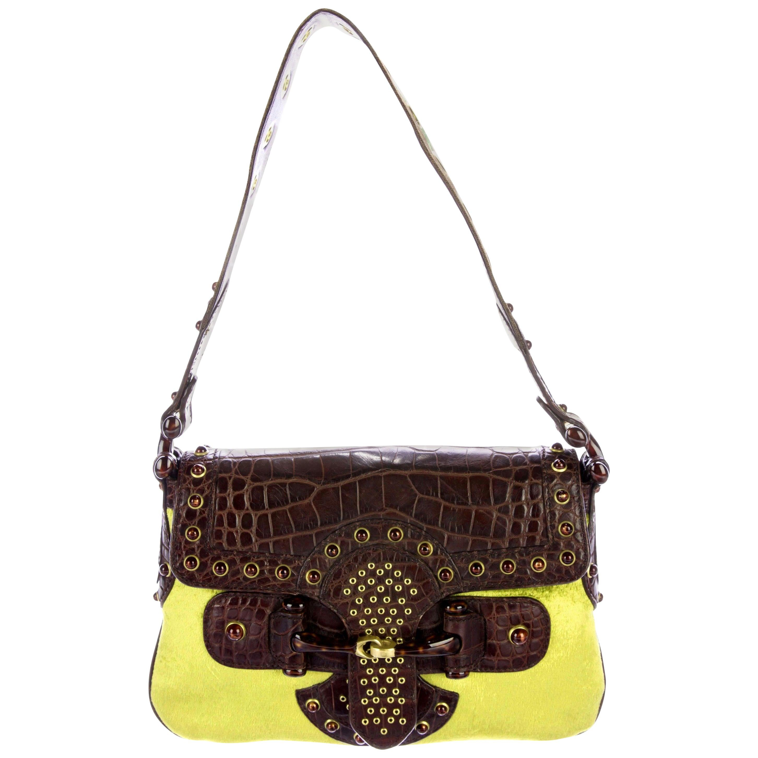 Gucci by Tom Ford Studded Crocodile and Velvet Horsebit Handbag Purse