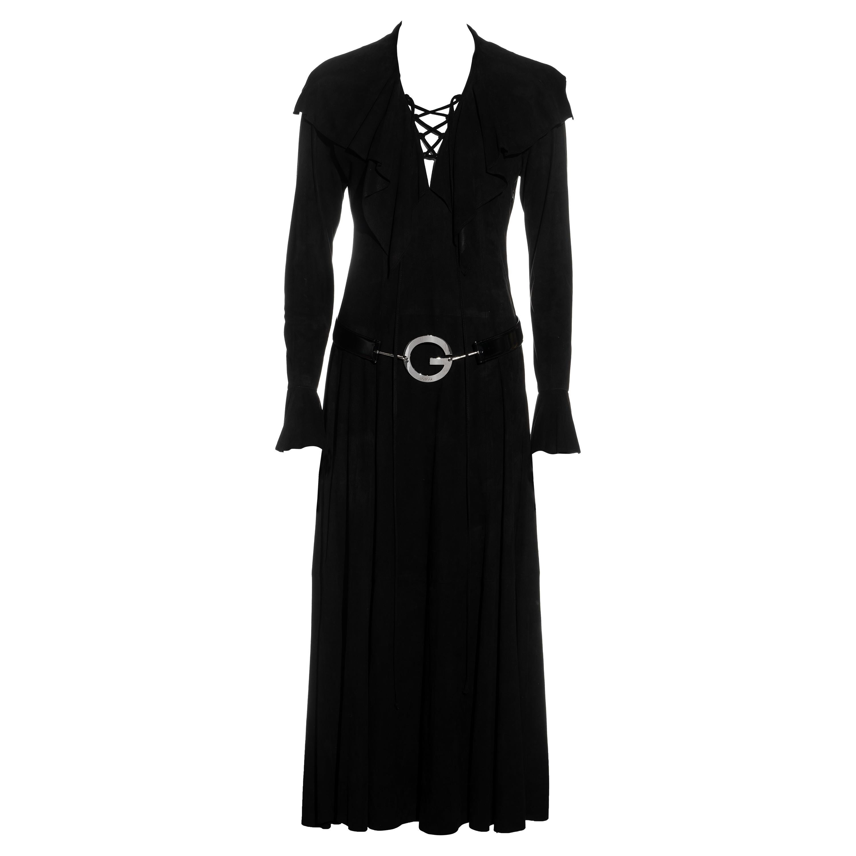 Gucci by Tom Ford suede lace-up maxi dress with 'G' belt, ss 1996