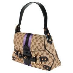 S/S 2004 Gucci by Tom Ford Tan 'GG' Horsebit Shoulder Bag Purple Satin Stripe