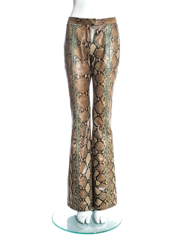 Gucci by Tom Ford, Tan python snakeskin flared pants.  Spring-Summer 2000