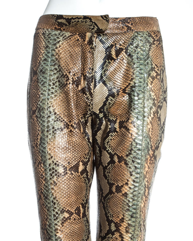 Brown Gucci by Tom Ford tan python leather flared pants, ss 2000 For Sale