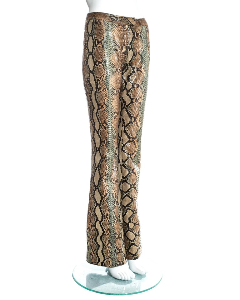 Gucci by Tom Ford tan python leather flared pants, ss 2000 In Good Condition For Sale In London, GB