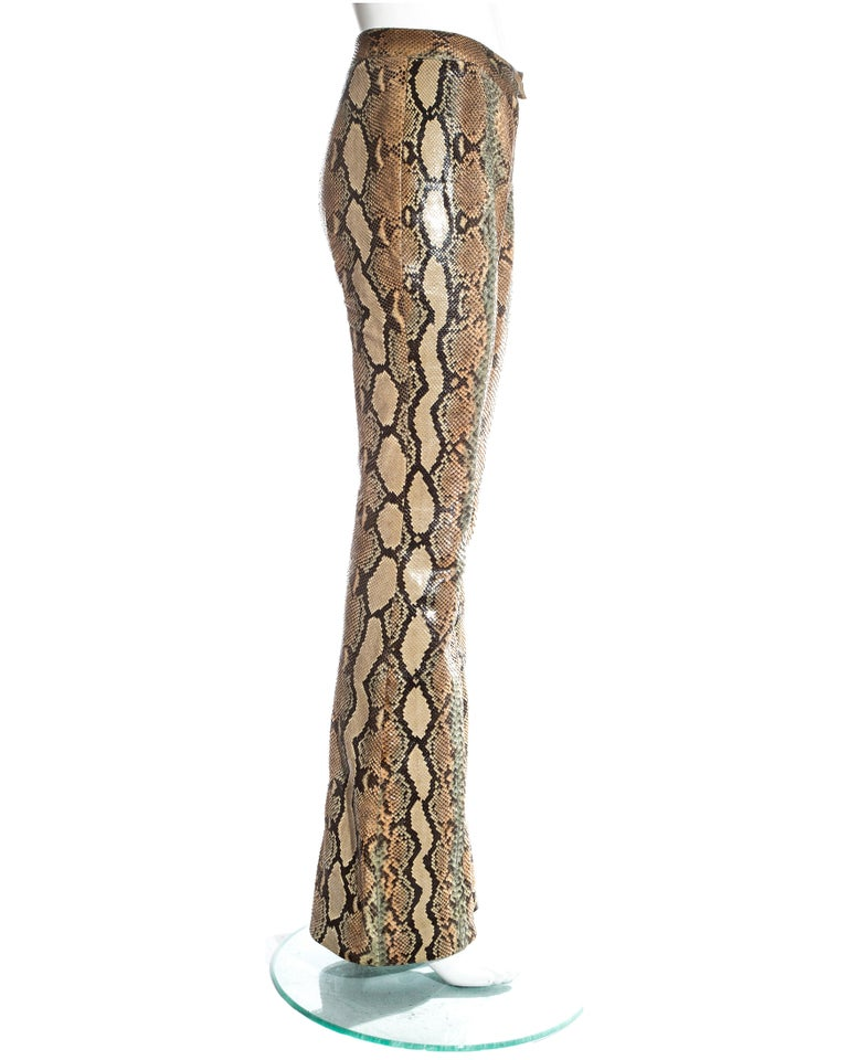 Women's Gucci by Tom Ford tan python leather flared pants, ss 2000 For Sale
