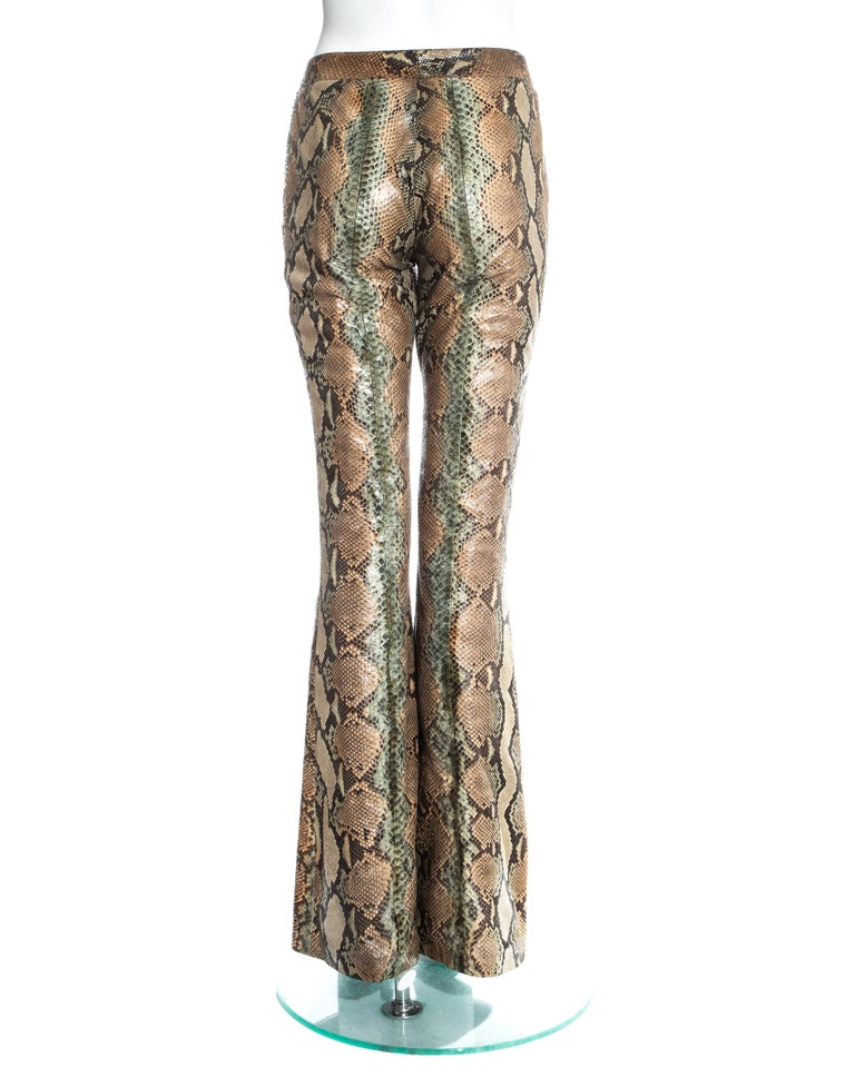 Gucci by Tom Ford tan python leather flared pants, ss 2000 For Sale 1