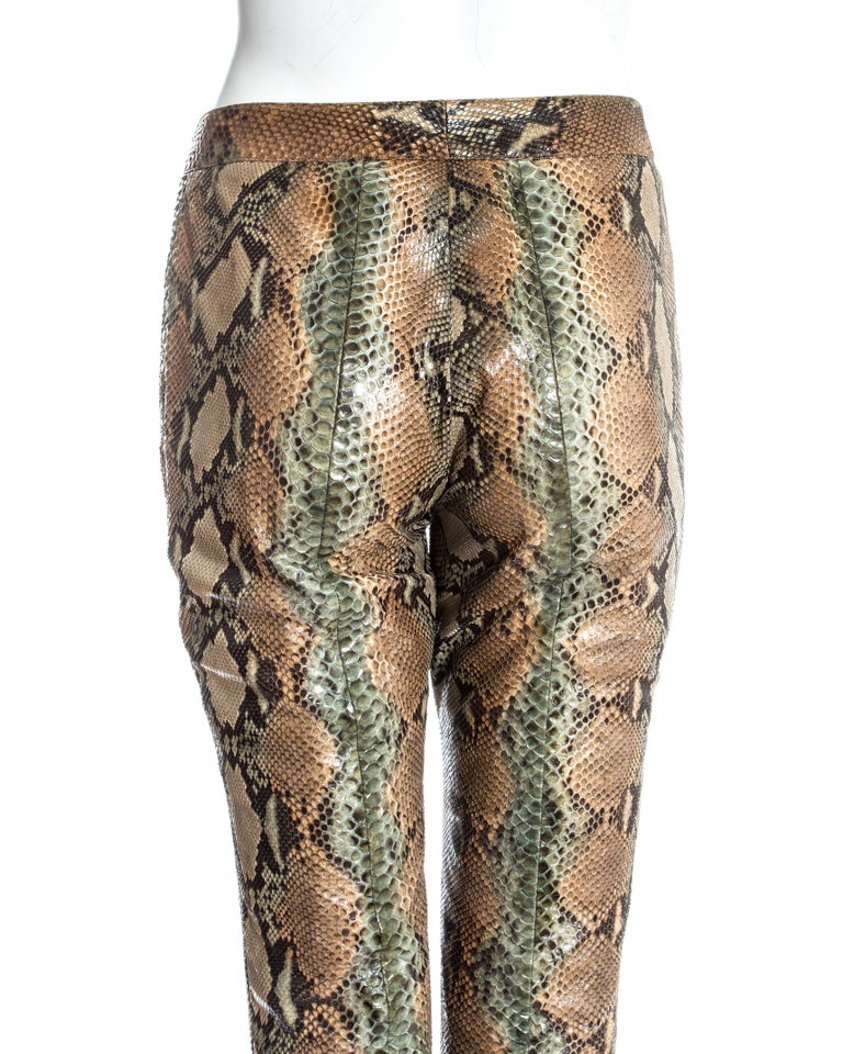 Gucci by Tom Ford tan python leather flared pants, ss 2000 For Sale 2