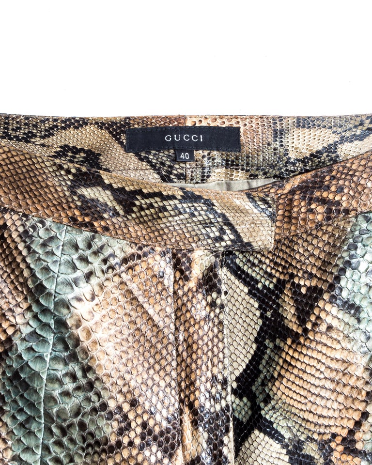 Gucci by Tom Ford tan python leather flared pants, ss 2000 For Sale 3