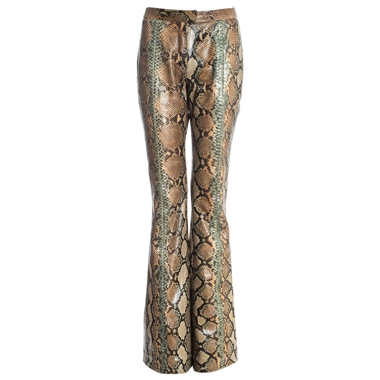 Gucci by Tom Ford tan python leather flared pants, ss 2000 For Sale