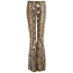 Gucci by Tom Ford tan python leather flared pants, ss 2000