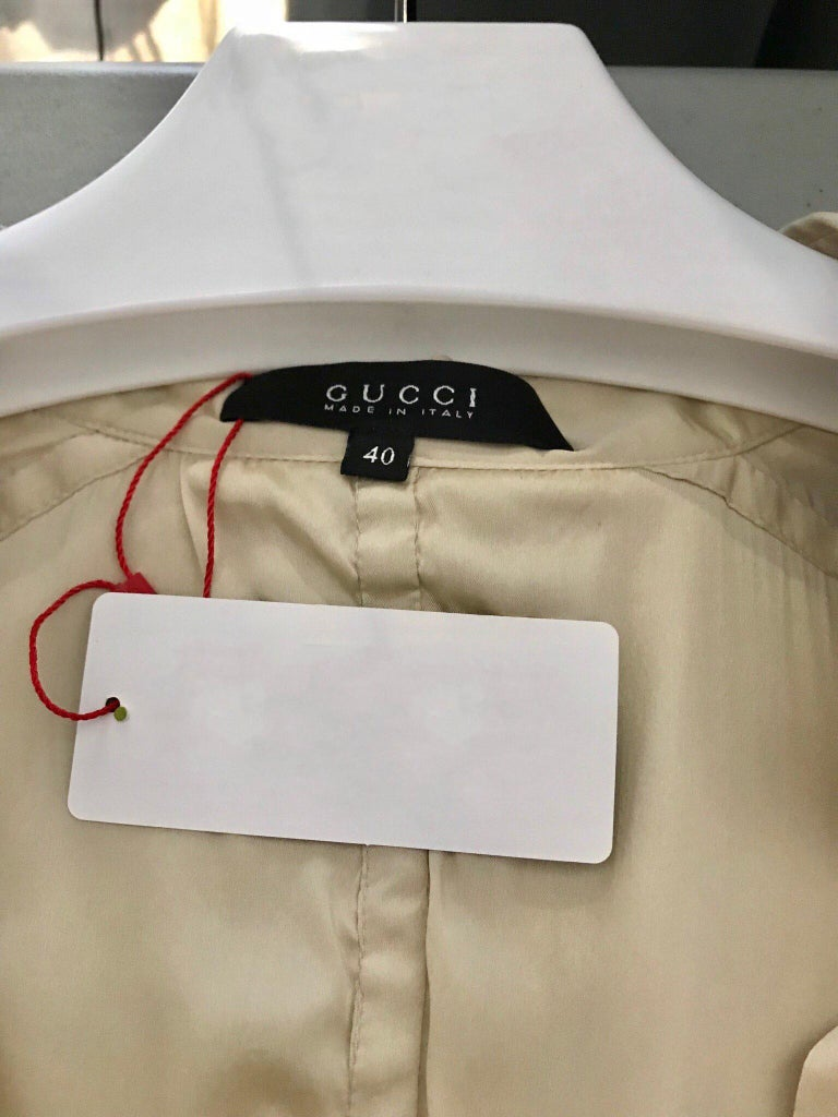 Gucci  by Tom Ford Tan Silk Shirt Dress  In Good Condition For Sale In Beverly Hills, CA
