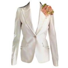 Gucci by Tom Ford Winter White Winged Lapel Fitted Jacket Blazer IT 38/ US 2