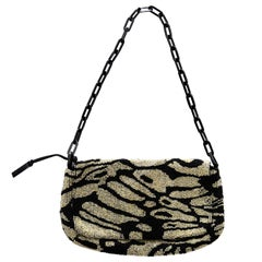 Gucci by Tom Ford zebra pattern beaded silk evening flap bag, ss 2000
