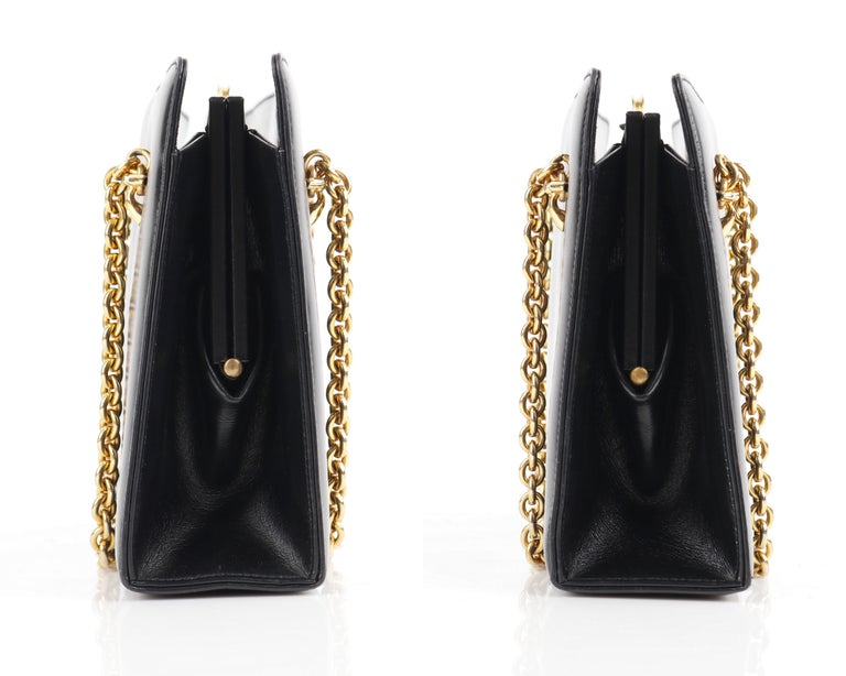 Women's GUCCI c.1960's Black Leather Gold Chain Link Push Lock Structured Handbag RARE For Sale