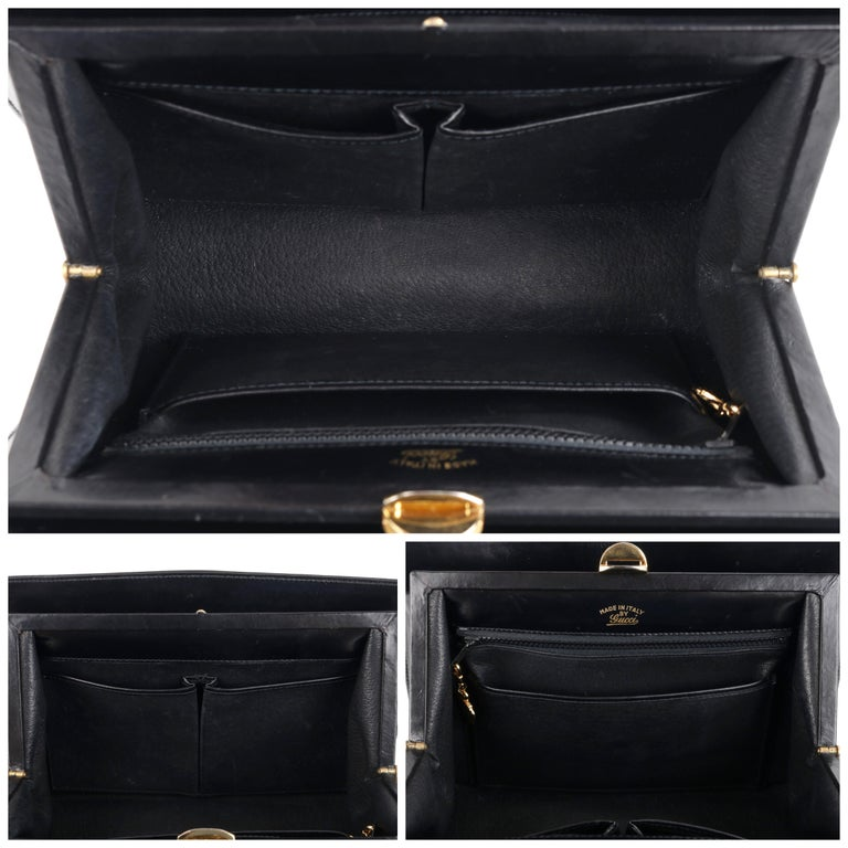 GUCCI c.1960's Black Leather Gold Chain Link Push Lock Structured Handbag RARE For Sale 5