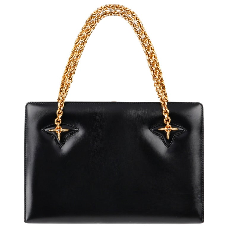 GUCCI c.1960's Black Leather Gold Chain Link Push Lock Structured Handbag RARE For Sale