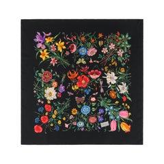 """GUCCI c.1970's Vittorio Accornero """"Flora"""" Black Multicolor Floral Silk Scarf"""
