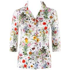 "GUCCI c.1970's Vittorio Accornero ""Flora"" Print Cotton 3/4 Sleeve Shirt Blouse"