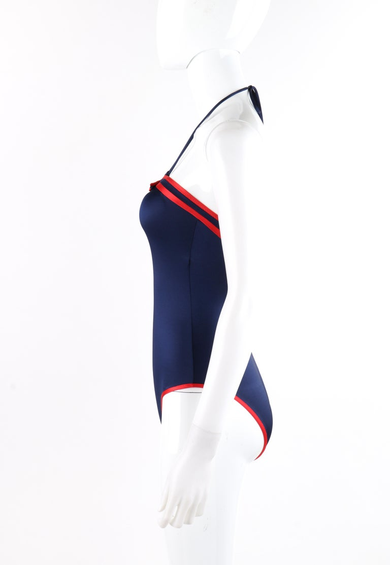 GUCCI c.1980's Blue Red Trim High Cut Leg Ring Halter 1 Piece Bathing Swimsuit  For Sale 1