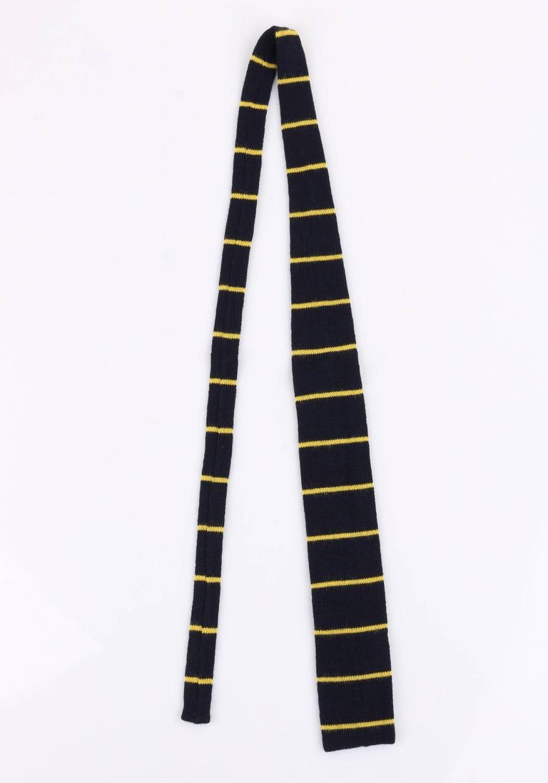 Black GUCCI c.1980's Navy Blue & Yellow Striped Wool Knit Necktie Tie NOS For Sale