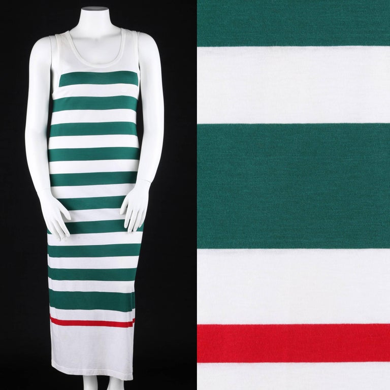 Vintage Gucci c.1980's white and green striped knit tank dress. White and green wide striped knit with thin red stripe at hem. Scoop neckline. Sleeveless. White interlocking