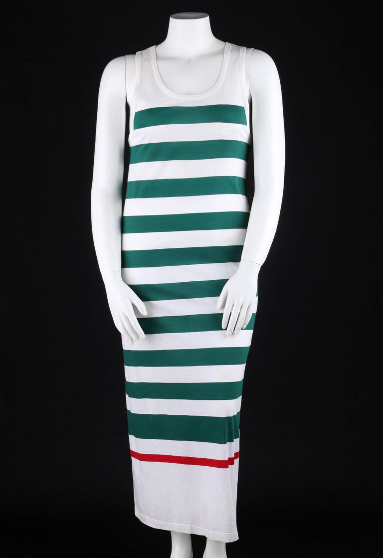 Gray GUCCI c.1980's White & Green Striped Knit Sleeveless Maxi Tank Dress For Sale