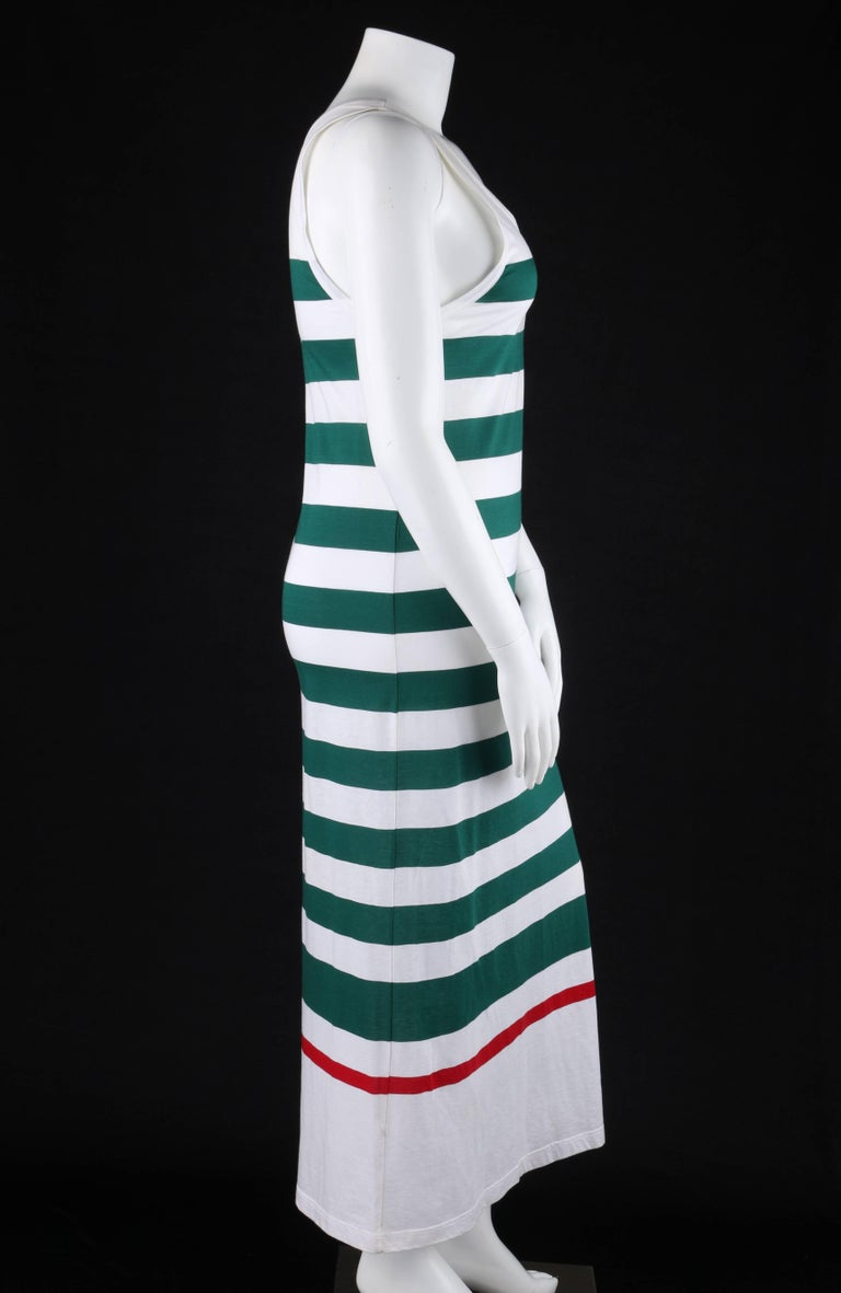 GUCCI c.1980's White & Green Striped Knit Sleeveless Maxi Tank Dress In Good Condition For Sale In Thiensville, WI