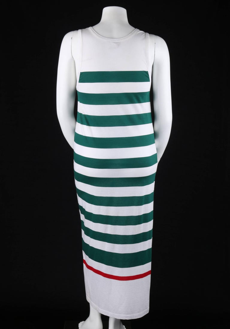 Women's GUCCI c.1980's White & Green Striped Knit Sleeveless Maxi Tank Dress For Sale