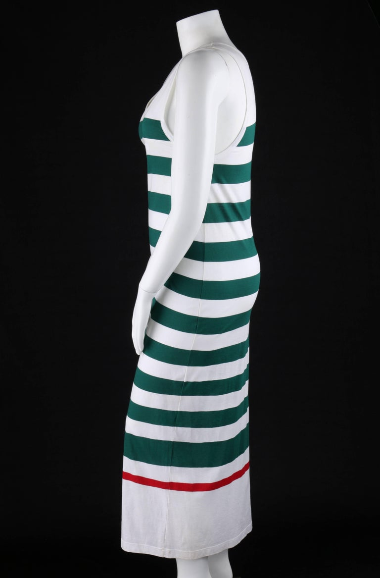 GUCCI c.1980's White & Green Striped Knit Sleeveless Maxi Tank Dress For Sale 1