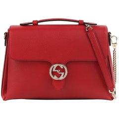 "GUCCI c.2015 Large Red ""Dollar"" Interlocking GG Leather Flap Chain Strap Bag NWT"