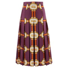 GUCCI c.2019 Purple Gold Marmont GG Doubloon Harness Silk Pleated Skirt