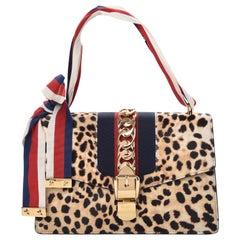 Gucci Calf Hair Leopard Print Small Sylvie Shoulder Bag