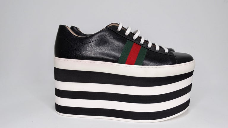 Black Gucci Calf Leather Wedge Sneakers For Sale