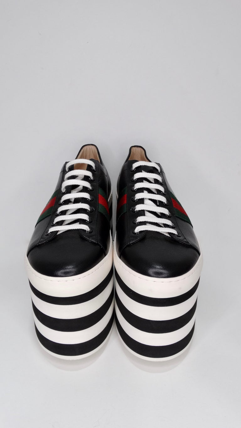 Women's Gucci Calf Leather Wedge Sneakers For Sale