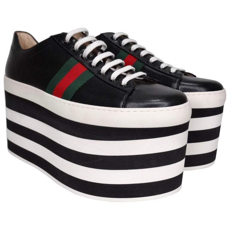Gucci Calf Leather Wedge Sneakers For Sale