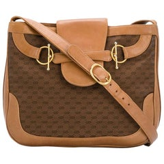 Gucci Camel Canvas Monogram Shoulder Bag