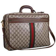 Gucci Canvas & Leather Travel Bag w/GG Diamond Web, Top Handle & Strap &