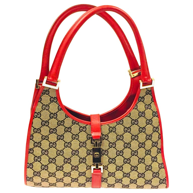 Gucci canvas monogram red piping handbag For Sale